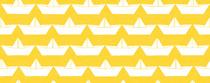 bateau blanc fond jaune
