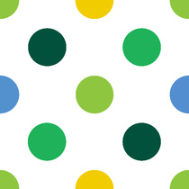 pois multico vert blanc