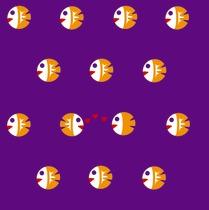 orange fish on violet