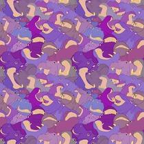 Hippopotames heureux - violet