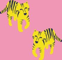 Tigre fond rose