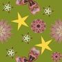 Tissu fleurs et étoiles sur fond kaki - AMANDINE BODIGUEL - Sam'Oz