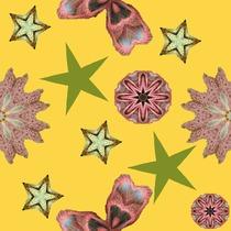 Tissu fleurs et étoiles sur fond jaune