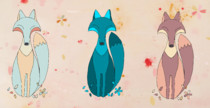 Foxes in a meadow pour coussins deco